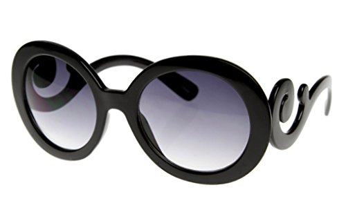 My Shades - Womens Round Vintage Classic Swirl Arm Designer Inspired Sunglasses (Black, Gradient Violet)