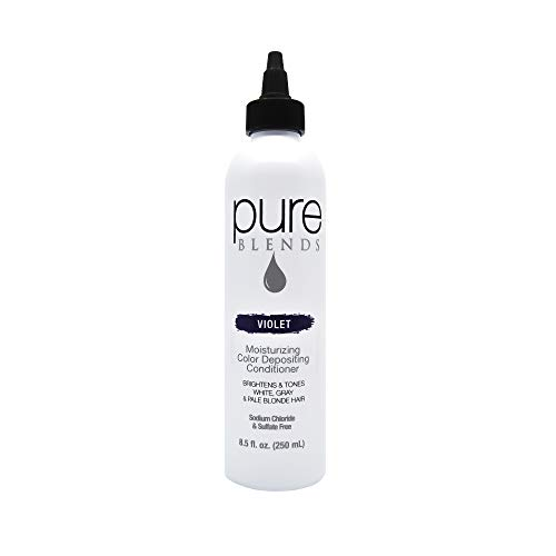 Pure Blends Moisturizing Color Depositing Conditioner - Violet (White, Gray, Pale Blonde Hair) 8.5 Ounce - Salon Quality