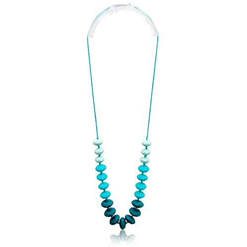 Gumeez Teething Necklace for Mom: Teether Turquoise Ombre | Faceted Beads