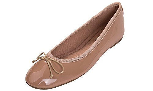 Feversole Women's Macaroon Colorful Memory Foam Cushion Insock Patent Ballet Flat Nude