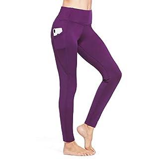 BALEAF Women's Fleece Lined Leggings Winter Yoga Leggings Thermal High Waisted Pocketed Pants Purple XXXL