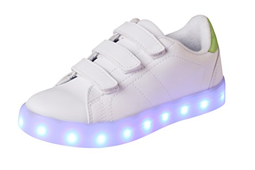 T&Mates LED Luminous Flashing Light up Low Top Velcro PU Rechargeable Sneakers for Kids Boys Girls (White, 10 M US Toddler)