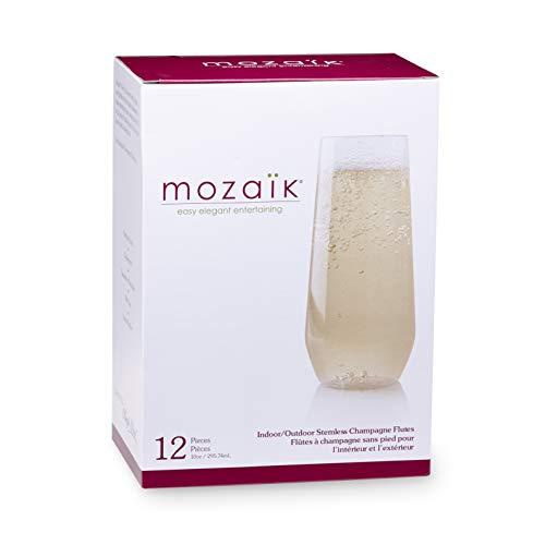 Mozaik Premium Plastic 10 oz. Stemless Champagne Flutes, 12 count