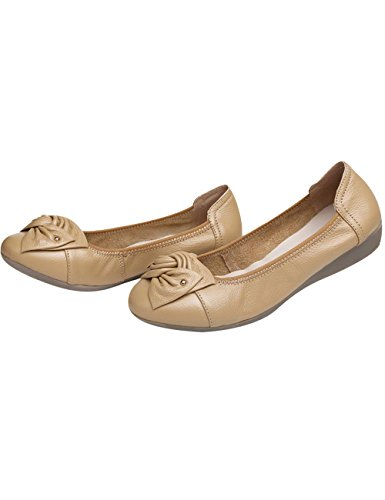 Zoulee Womens Leather Flowers Flats Shoes Dancing Shoes Beige