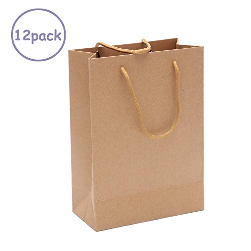 12 Pack Brown Kraft Paper Bags Bulk with Handles 7.09x2.76x9.45inch for Merchandise,Welcome Bag,Wedding Hotel Guests,Shopping Bag,Kraft Gift Bags,Party Bags,Food Packaging Bag,Weekend Destination