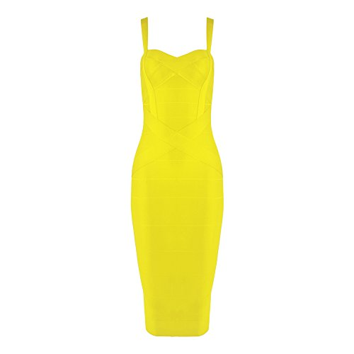 Damen Reizvoller Schlinge Bügel Verband Gelb Kleid HLBandage Midi adqgaw