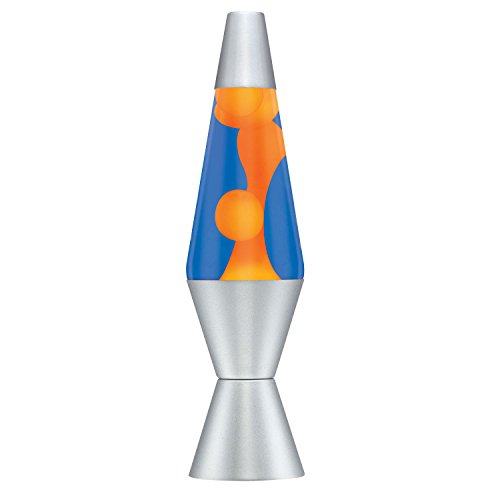 Lava the Original 14.5-Inch Silver Base Lamp with Orange Wax in Blue Liquid