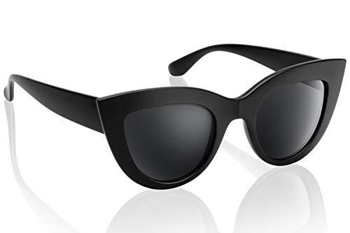 UV Protection Cat Eye Sunglasses,Mirrored Flat Lens Women Fashion Glasses (Matte -