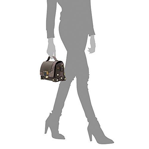 en de Vera cuir FIRENZE RUGA 23x15x12 cm femme in exclusive Couleur ARTEGIANI italiana authentique Made à suède et Sac luxe main véritable Bandoulière ITALY en Fermeture Gris BLEU pelle cuir Foncé Sac ZvzwZrq