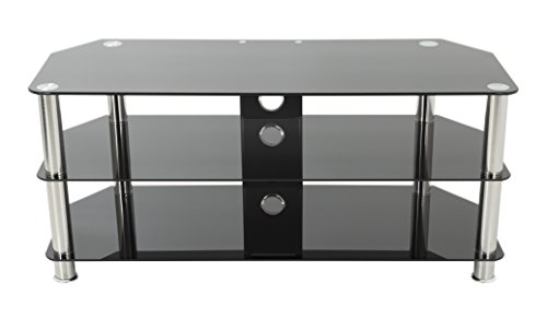 AVF SDC1000CM-A  TV Stand with Cable Management for up to 50-inch TVs, Black Glass, Chrome Legs