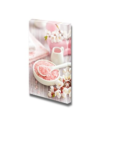 Pink Spa Therapy Treatment Concept with Cherry Flower and Bath Salt Wall Decor