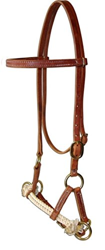 Rope Double Side Pull - Amish USA Horse Tack Hermann Oak Leather Double Rope Side Pull 975H4000