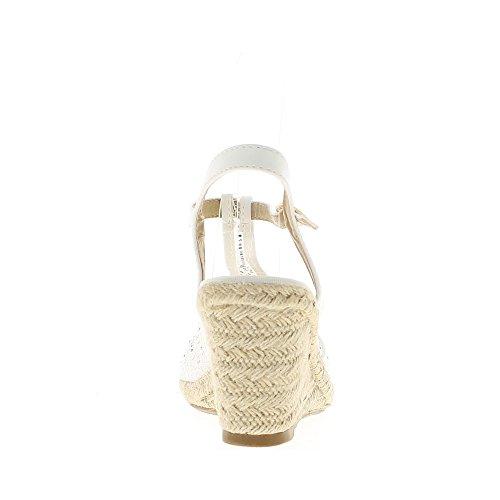 Espadrillles blanches à talon de 8 cm et plateau de 1,5cm