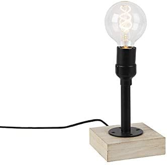 QAZQA Industrial Lámpara de mesa industrial negra sin pantalla 1 ...