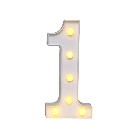 Akana Led Marquee Number Lights Sign, Warm White Led Number Lights Up Number Light, Battery Operated Night Lights for Confession Wedding Party Birthday Christmas Home Bar Decoration -