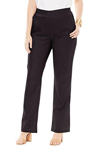 Jessica London Women's Plus Size Petite Pull-On Linen Pants Black,14 (Flat Front Linen Skirt)
