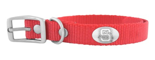 ZEP-PRO Red Nylon Concho Pet Collar, North Carolina State Wolfpack, Large
