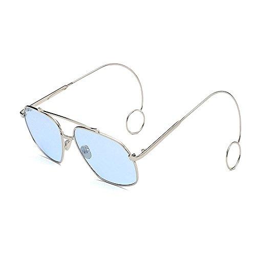 gafas lisas con gafas de sol de Elegante metal de Gafas sol fino para Protección Elegantes Delicadas sol de sol Pendientes sol Hombre Gafas UV de Personalidad de Azul borde mujeres Gafas Marco Unisex pw6qHxAAX