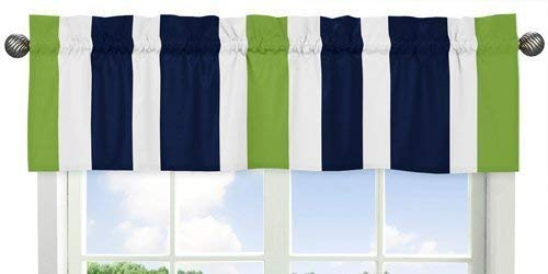 Navy Blue White and Lime Green Window Treatment Valance for Stripes Bedding Collection
