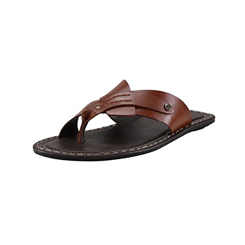 f17b9790a20cd Image Unavailable. Image not available for. Colour  Franco Leone Men s Dark Tan  Leather Hawaii Thong ...