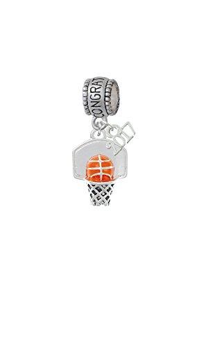Mini Enamel Basketball - Silvertone 3-D Enamel Basketball in Hoop - Congratulations with Mini 2017 Charm Bead