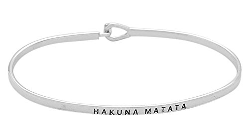 Glamour Girl Gifts Collection Hakuna Matata Engraved Bangle Hook Bracelet for Best Friends, BFF Besties (Silver)