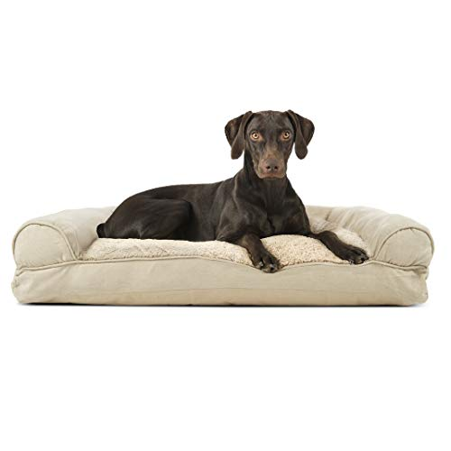 Furhaven Pet Dog Bed | Ultra Plush Faux Fur & Suede Pillow Cushion Traditional Sofa-Style Living Room Couch Pet Bed w/ Removable Cover for Dogs & Cats, Clay, Large