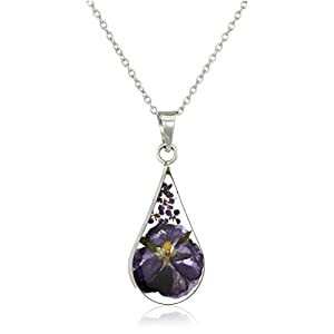 Amazon Collection Sterling Silver Pressed Flower Teardrop Pendant Necklace