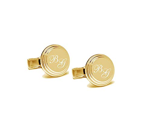 Personalized Gold Stepped Stainless Steel Cufflinks Engraved Free Cuff Links