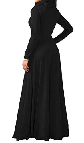 Coolred-femmes Grande Balançoire Robes De Cols Confortables De Velours À Manches Longues Taille Haute Noir