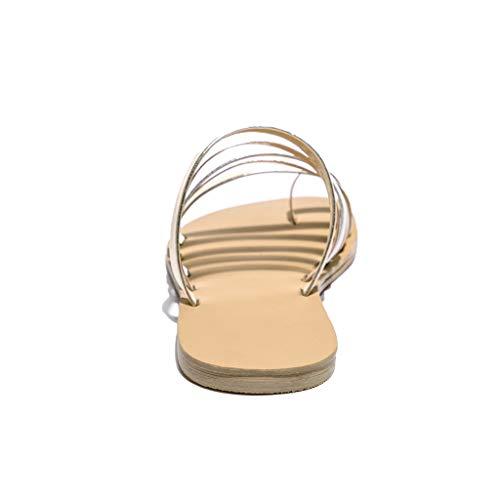 Sandali Piatto Da Primavera Oro Scarpe Spiaggia Pantofole Estate Sportivi Cinturini Alikeey Tacco Donna Con A Elegante Eleganti Tq7C5