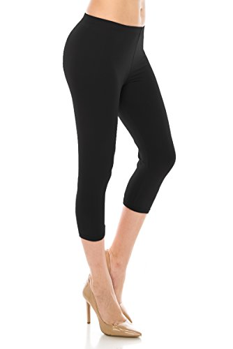 - ALWAYS Women Basic Capri Leggings - Solid Buttery Premium Soft Stretch Yoga Workout Fitness Pants Black Regular