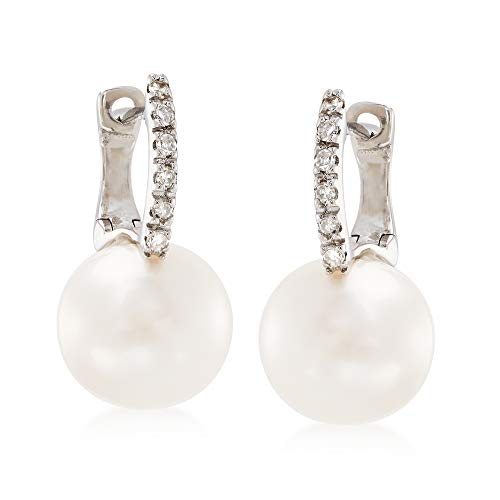 Ross-Simons 8mm Cultured Pearl Earrings With Diamond Accents in 14kt White Gold by Ross-Simons (Image #3)