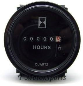 2/'/' Round Quartz Hour Meter AC//DC 6-80V Gauge for Boat Car Timer Tractor Engine