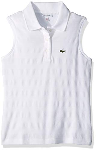 Lacoste Big Girl Sleeveless Technical Striped Pique Polo, White, 8YR