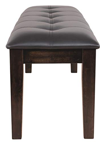 Ashley Furniture Signature Design - Haddigan Upholstered Dining Room Bench - Casual Tufted Seating - Dark Brown