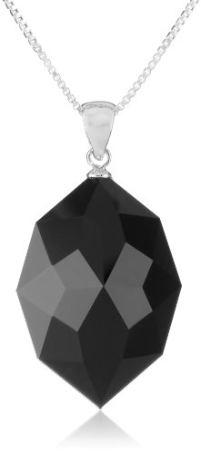 Sterling Silver Black Onyx Faceted Marquise Pendant Necklace, - Faceted Pendant Onyx
