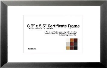 8.5'' x 5.5'' Matted Certificate Frame - 5.5x8.5 Wood Frame - Holds any document measuring 8.5x5.5 or 8.5x11 inches (Charcoal)