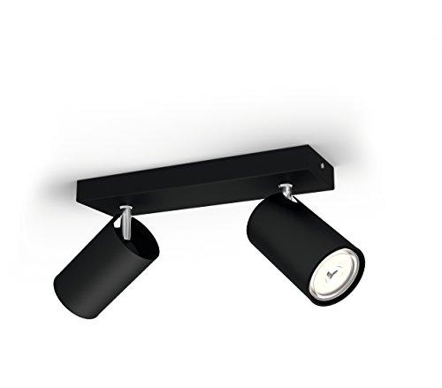 Philips Kosipo Opbouwspot 2-Lichts – GU10 Fitting – Accentverlichting – Excl. Lamp – Draaibaar – Rechthoekig – Zwart