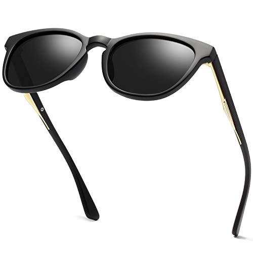 Round Vintage Sunglasses Polarized for Women Men, Women's Fashion Sun Glasses UV400 KANASTAL K1925 (Matte Black Frame Black ()