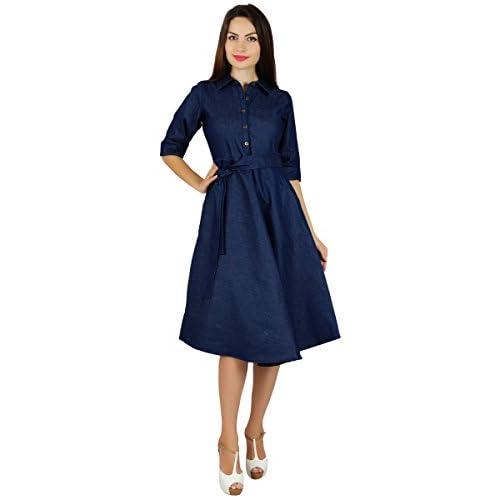 Bimba Womens Blue Denim Shirt Dress with Pockets 3/4 Sleeve Casual ...