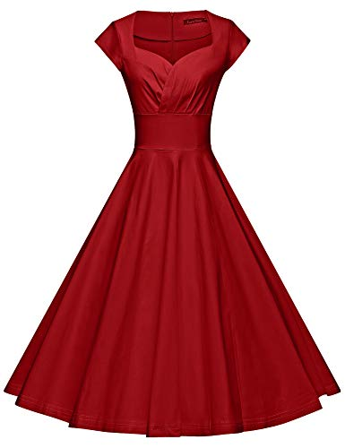GownTown Womens Dresses Party Dresses 1950s Vintage Dresses Swing Stretchy Dresses, Red, Large
