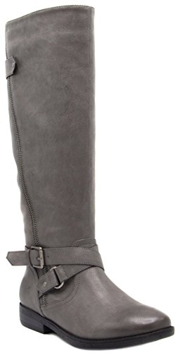 Boots Leather Gray - Sugar Womens Iris Riding Boot Wraparounds Buckles Zip Closure 10 Grey