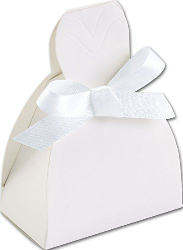 EGP White Gown Favor Box 2 5/8 x 1 1/2 x 3 3/4