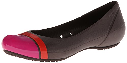 crocs Women's 12300 Cap Toe Flat,Mahogany/Candy Pink,4 W US