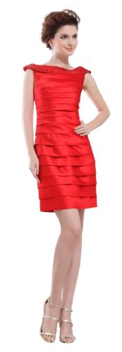 Orifashion - Vestido - Sin mangas - para mujer Rojo