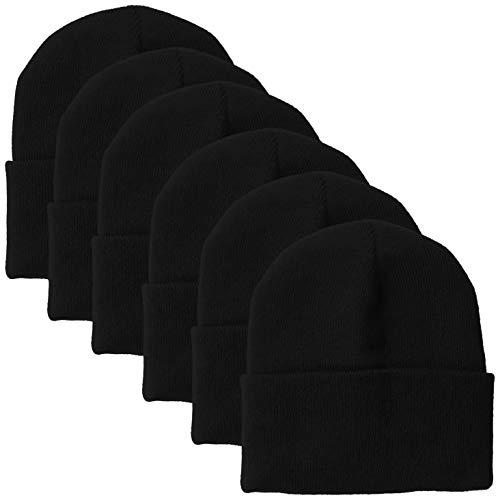 (Clementine Apparel Men's CLM-AL-BA3825-long Uncuffed Knit Beanie (6 PK), Black, OS )