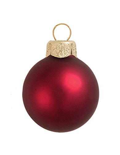 40ct Matte Bordeaux Red Glass Ball Christmas Ornaments 1.5
