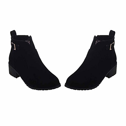 Allhqfashion Women's Kitten-Heels Frosted Ankle-high Solid Zipper Boots Black tjzwAIHy1