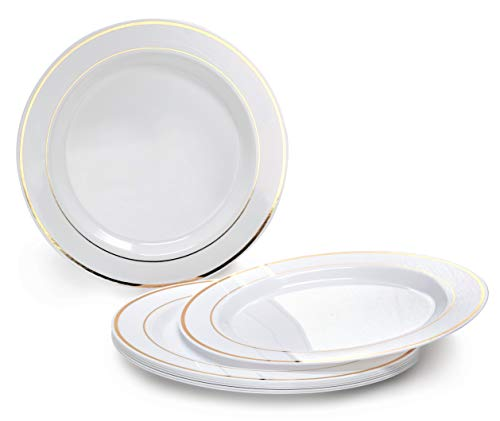 OCCASIONS 120 PACK, Heavyweight Disposable Wedding Party Plastic Plates (10.5'' Dinner Plate, White/Gold Rim) -